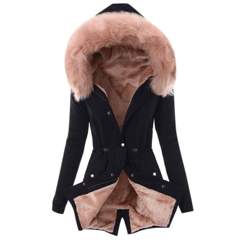 SWQZVT Hot Sale Fur Collar Winter Coat Women Solid Color Sashes Casual Warm Cotton Coat Women Jacket Hooded Women Parkas (1)