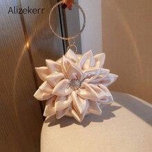 3D פרח ערב מצמד שקיות נשים יוקרה בנות מעגלי ריינסטון קטן ארנקי תיקי כלה חתונה מסיבת מעצב חדש