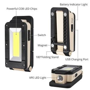 Image 5 - Cob portátil conduziu a luz do trabalho tocha magnética usb recarregável conduziu a luz trabalho cob lâmpada de inspeção para garagem carro oficina caminhadas