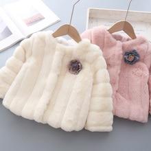 Babyinstar пальто с мехом Fuax детская зимняя куртка из смешанной шерсти детские плащи для девочек, одежда Детские куртки с цветочным рисунком для девочек