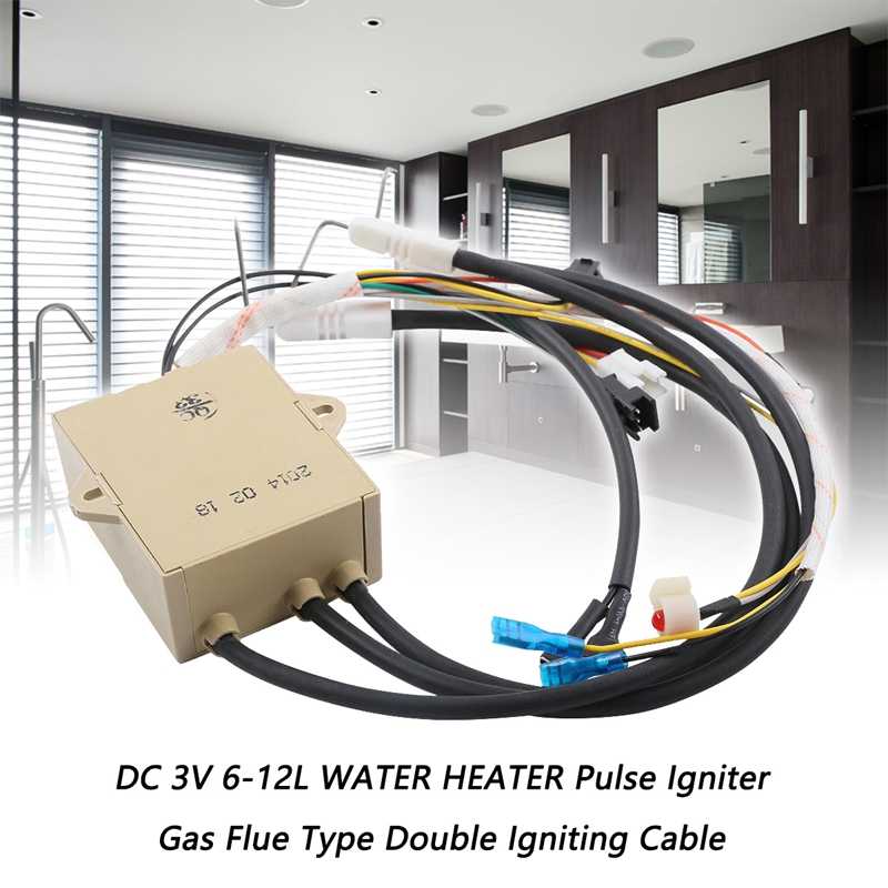 DC 3V 6-18L WATER HEATER Pulse Igniter Gas Stove Flue Type Double Igniting Cable New