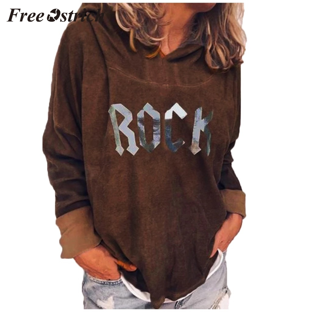 FREE OSTRICH Women's solid color warm long-sleeved hoodie sweatshirt loose letter printing pullover casual large size sweatshirt