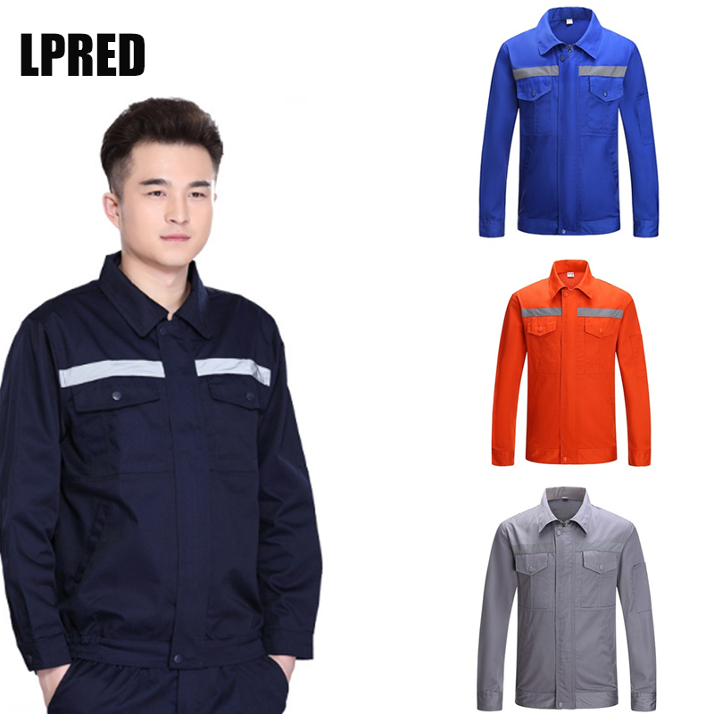 Long Sleeve Poly Cotton Light Weight Reflective Safety Work Jacket Workwear Shirt