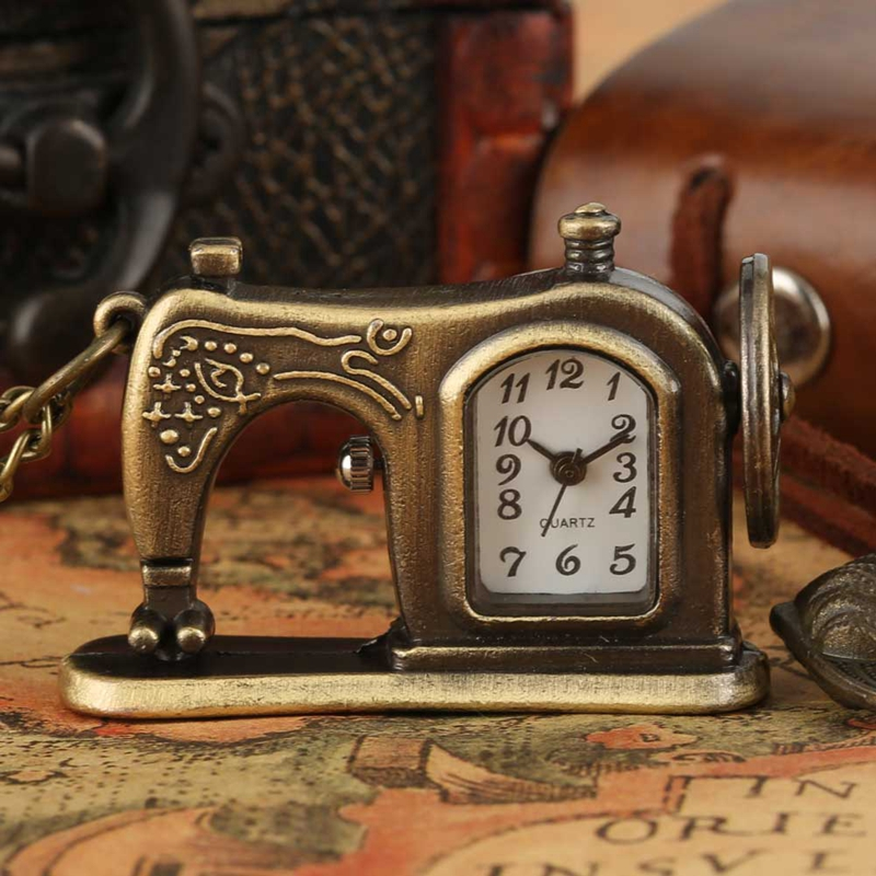 Antique Sewing Machine Quartz Pocket Watch Retro Bronze Key Lock Necklace Pendant FOB Sweater Chain Souvenir Gifts Collectibles