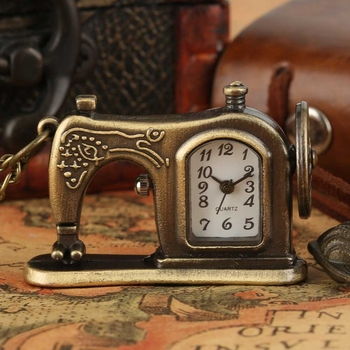 Antique Sewing Machine Quartz Pocket Watch Retro Bronze Key Lock Necklace Pendant FOB Sweater Chain Souvenir Gifts Collectibles - discount item  33% OFF Pocket & Fob Watches