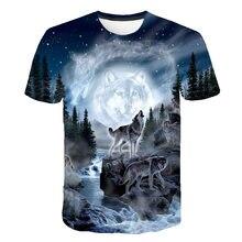 Verão 2021, 6xl, camiseta masculina, lobo 3d print manga curta camiseta respirável e divertido ruas, tendência da moda casual