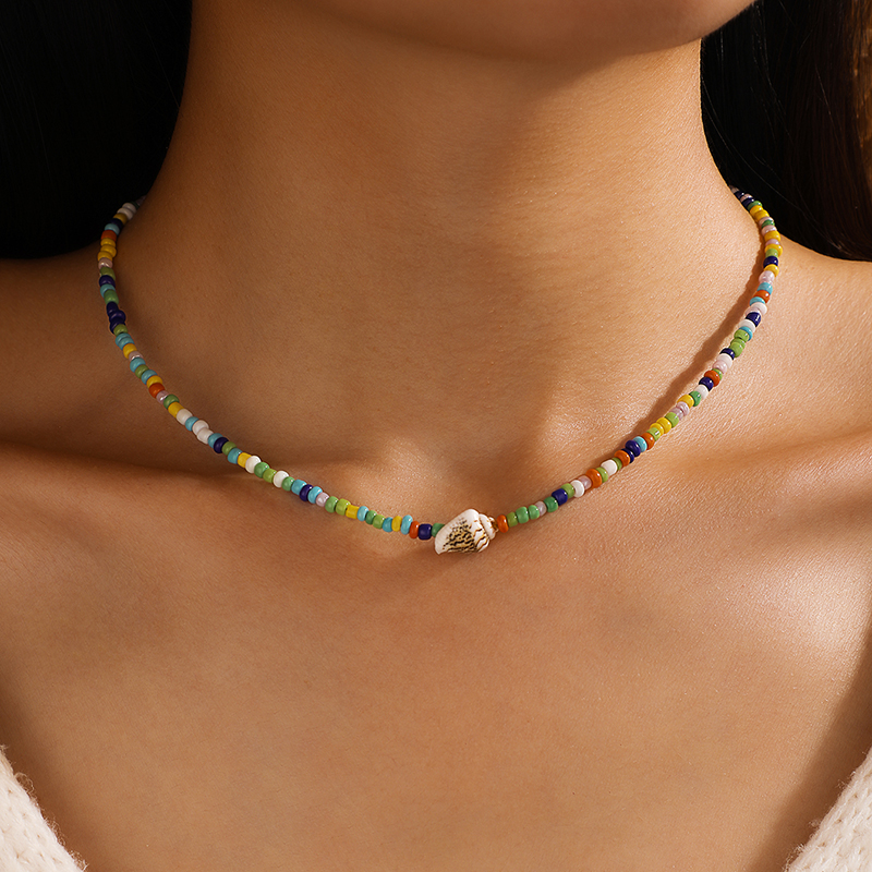Tocona Colorful Bead Clavicle Chain Necklace for Women Summer Conch Handmade Choker Bohemian Jewelry Accessories Collar 14611