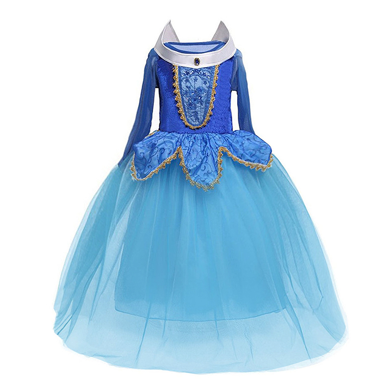 H6819f69d70254f02afaef445e3304a54C 4-10T Fancy Princess Dress Baby Girl Clothes Kids Halloween Party Cosplay Costume Children Elsa Anna Dress vestidos infantil