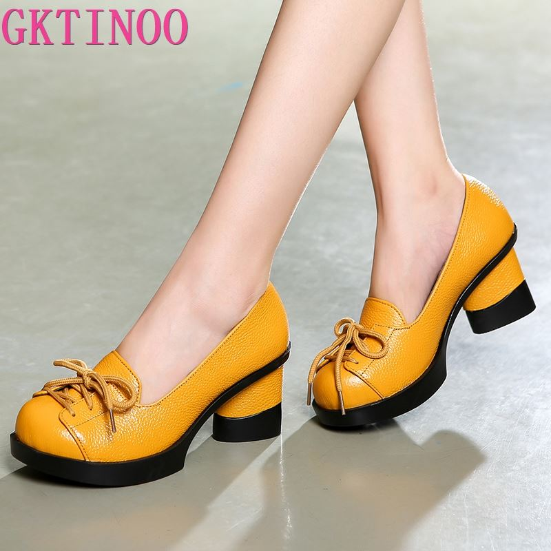 GKTINOO Spring Women Pumps Retro Lady 6CM High Heels Slip On Platform Pumps Handmade Women Genuine Leather Shoes