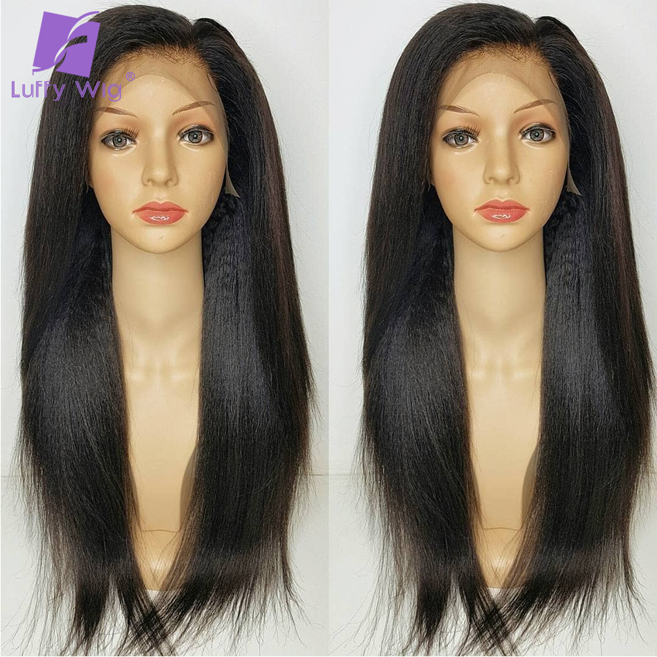 Yaki Straight 5x4.5 Silk Base Wigs PrePlucked Remy Peruvian Lace Front Human Hair Wigs With Baby Hair Glueless LUFFY