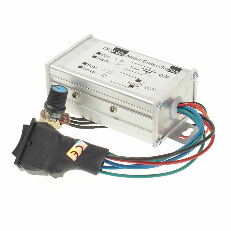 New DC 9V 12V 24V 48V 60V 20A Reversible Motor Speed Controller Regulator Driver PWM