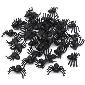 50pcs horror black spider haunted house spider web bar party decoration supplies simulation tricky toy halloween decoration@3