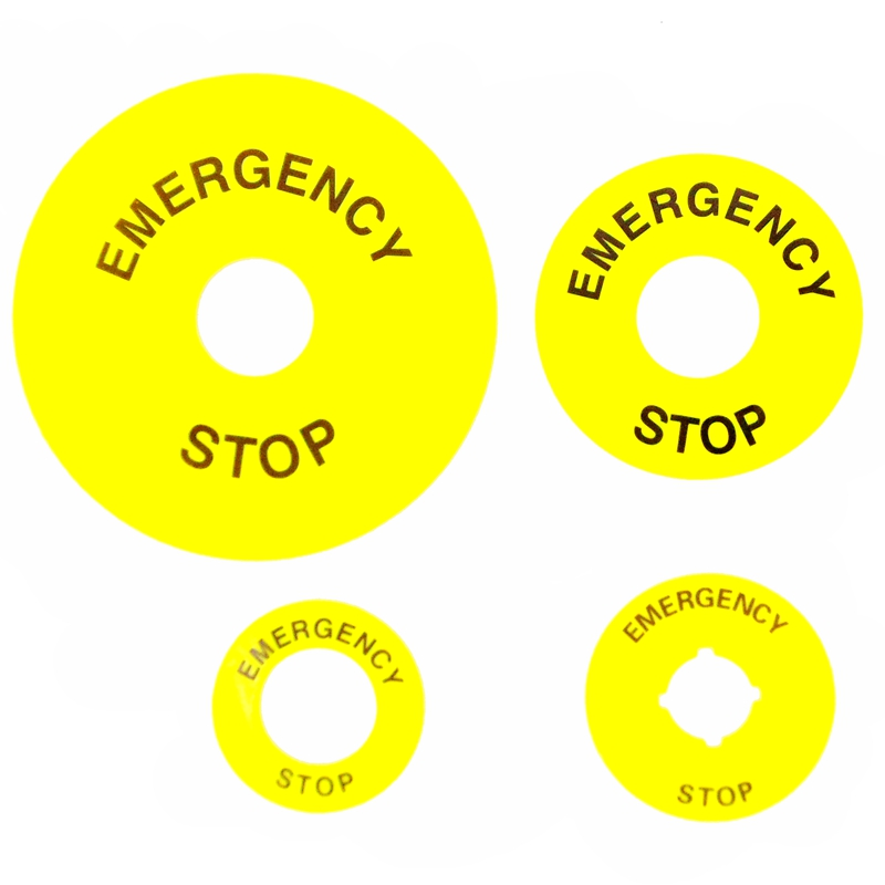 Yellow Emergency Stop PushButton Switch Accessory Warning Legend Label Mark Round Ring Plate 90mm 60mm 40mm