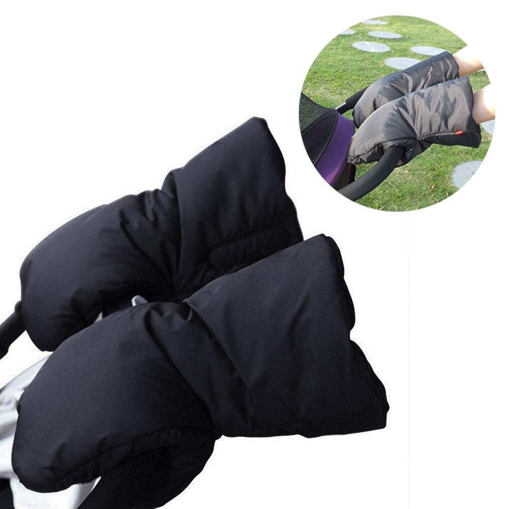 Baby Thicken Warm Winter Stroller Hand Muff Stroller Accessories Waterproof Kids Pushchair Hand Cover Fur Cart Fur Fleece Gloves