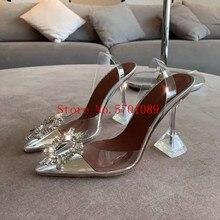 цена на Woman Designer Shoes Begum Crystal-embellished Pvc Pumps Begum Embellished Pvc Slingback Pumps Transparent Kick-flare Heels Shoe