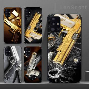 Limited Edition 24K Gold 1911 Guns Phone Case For Samsung S6 S7 edge S8 S9 S10 e plus A10 A50 A70 note8 J7 2017 image