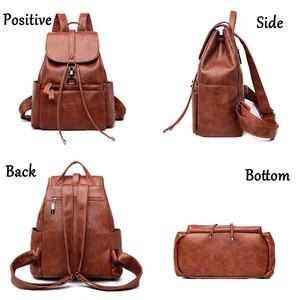 Image 4 - Fashion Women Backpack High Quality PU Leather Backpacks for Teenage Girls Female School Shoulder Bag Bagpack mochila Sac A Dos
