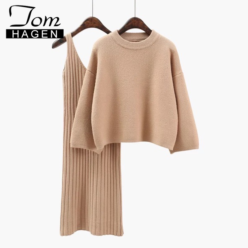 Knitted Two Piece Women Sets Red Loose Sweater Knitted Dress Women Long Sleeve Winter Knit Dresses 2 Pieces Sweater Dress Set