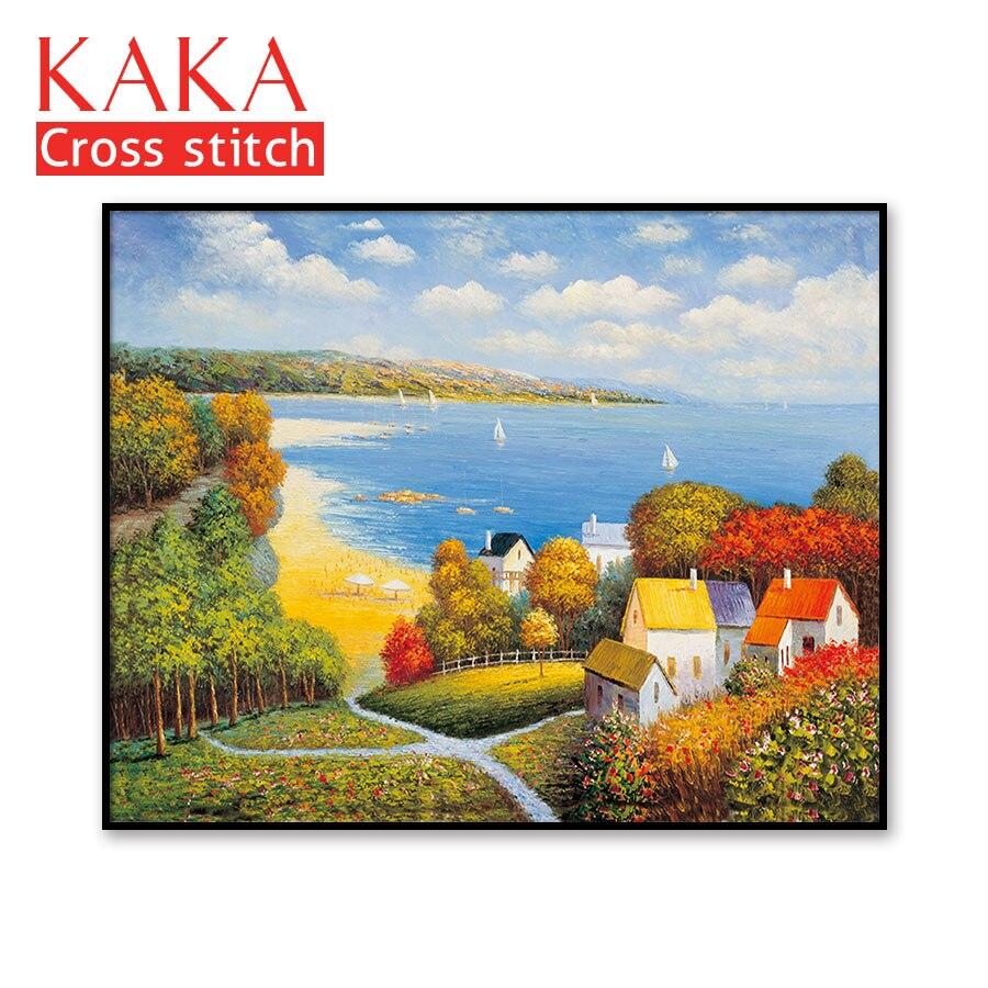 Kits de punto de cruz, juegos de bordado con patrón impreso, 11 ct lienzo para la pintura de la decoración del hogar, paisaje completo NCKS034-in Paquete from Hogar y Mascotas    1