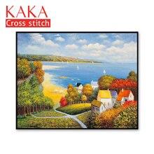Kits de punto de cruz, juegos de costura bordados con patrón impreso, 11ct lienzo para pintura de decoración del hogar, paisaje completo NCKS034
