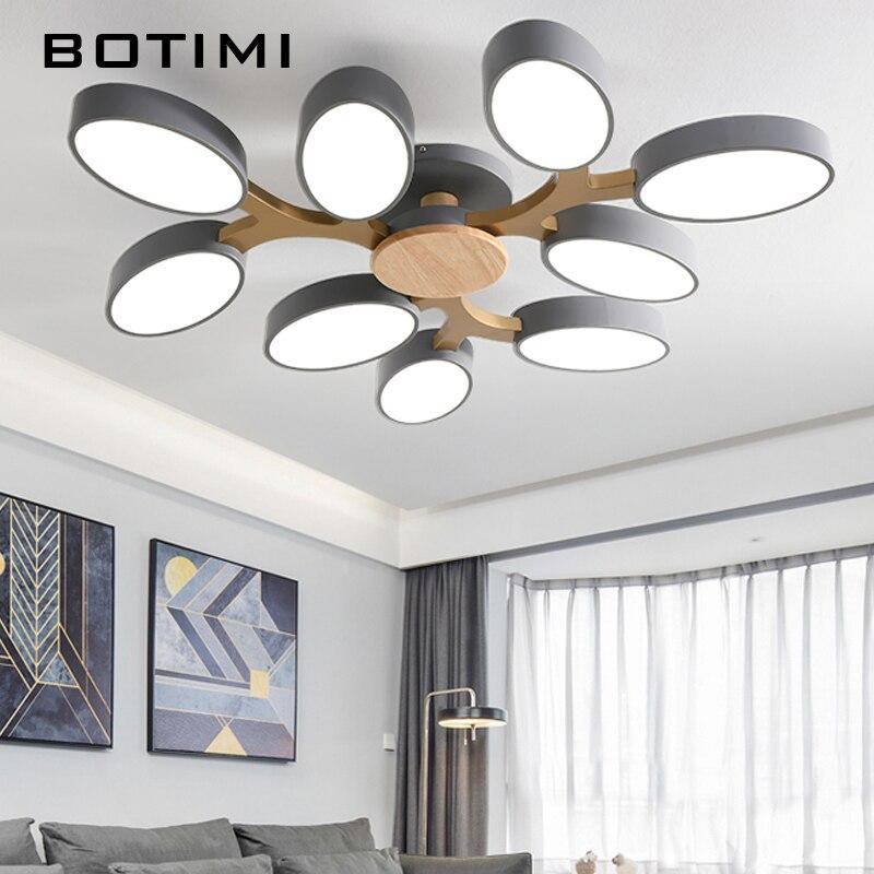 BOTIMI Tree Shaped Gray 220V LED Ceiling Lights For Living Room Modern White Metal Bedroom Lamp Black Ceiling Mounted Lamp