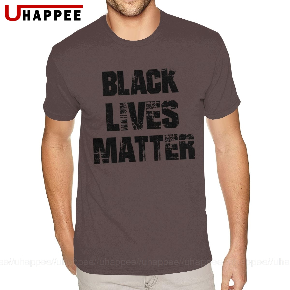 Mens Round Neck Black Lives Matter Short-Sleeve T-Shirts Tees