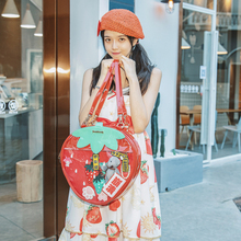 Sweet Strawberry Double  side bag backpack clear Transparent student Lolita Backpack  ita Lady  Shoulder Bags