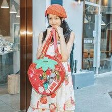 甘いイチゴ両面バッグバックパッククリア透明学生ロリータバックパックバッグita女性ショルダーバッグ
