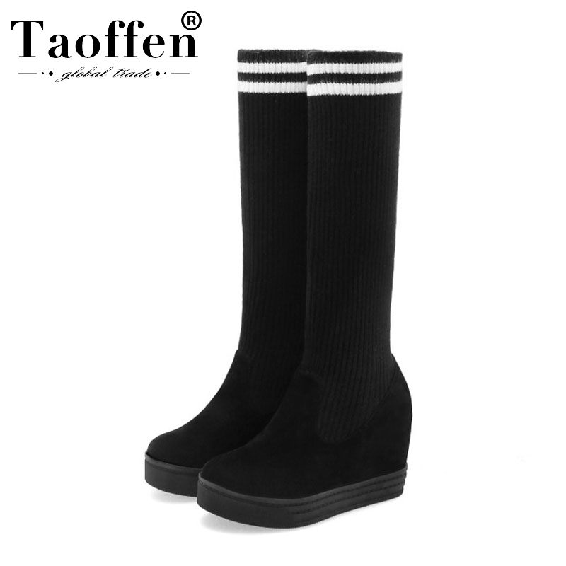 Taoffen Ladies Platform Over The Knee Boots Winter Keep Warm Comfort Flat Long Boots Wedges High Quality Footwear Size 34-44