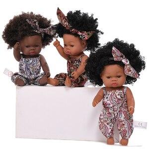 JINGXIN 35 см черный Reborn Baby Dolls, африканская Кукла Reborn из силикона, виниловая кукла, новорожденный пупи Boneca, детская игрушка, мягкая, без функции, и...