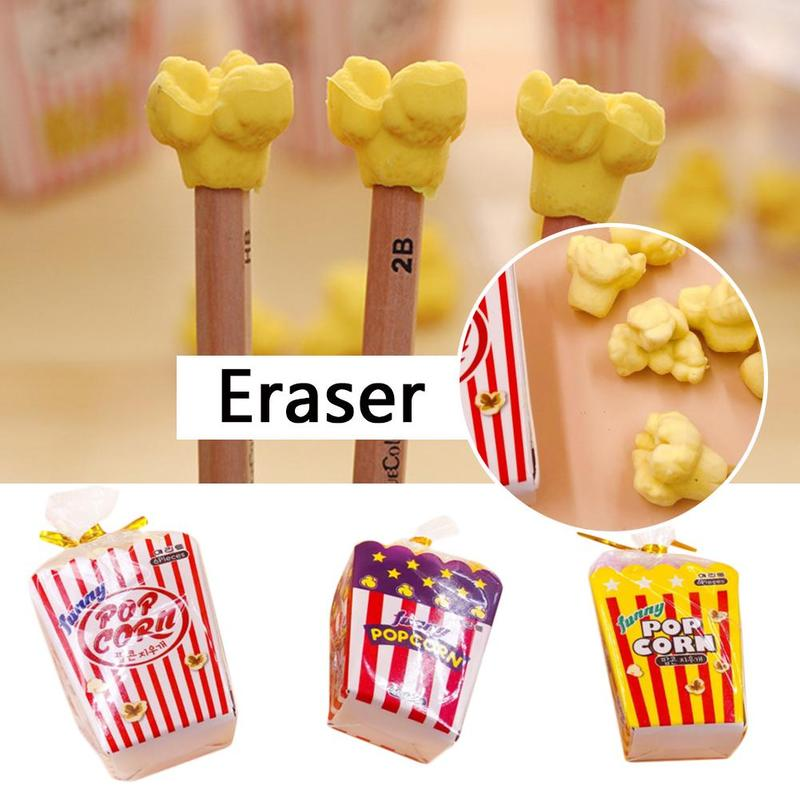 6pcs Popcorn Shape Erasers Children Stationery School Supplies Rubber Pencil Erasers Correction Toy Material Escolar Papelaria