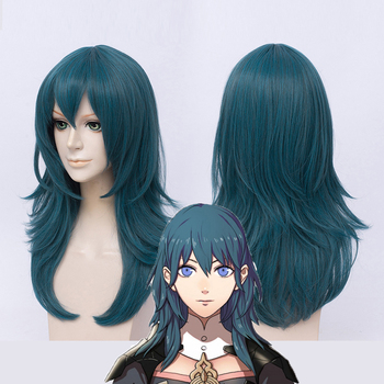 Fire Emblem ThreeHouses Wig Byleth Long Blue Straight Middle Long Short Cosplay Hair Halloween Role Play