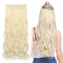 s noilite Long wavy Clip in One Piece hair Extensions hair synthetic natural hair Black Brown