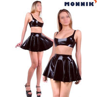 MONNIK latex Sexy Latex Rubber Women Bra And Skirts Slim Club Wear Dress Unique Party New