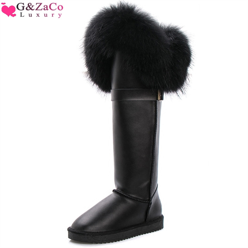 G&Zaco Winter Natural Black Fox Fur Snow Boots Cow Genuine Leather Knee High Boots Long Waterproof Raccoon Women Boots image