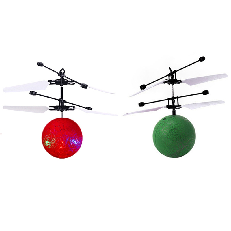 2Pcs Infrared Induction Drone Flying Flash LED Lighting Ball Helicopter Child Kid Toy Gesture-Sensing No Need to Use Remote Cont
