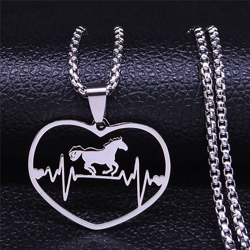 Ожерелье из нержавеющей стали с изображением лошади ЭКГ для женщин и мужчин, эффектные ожерелья серебристого цвета, ювелирные изделия, женс...