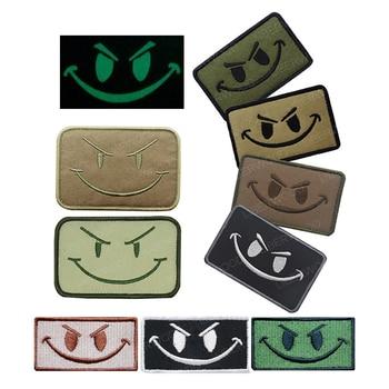 Parche con diseño de cara de sonrisa maligna, moral táctica ISAF ARMY MILSPEC MULTICAM, parche, insignia OD verde