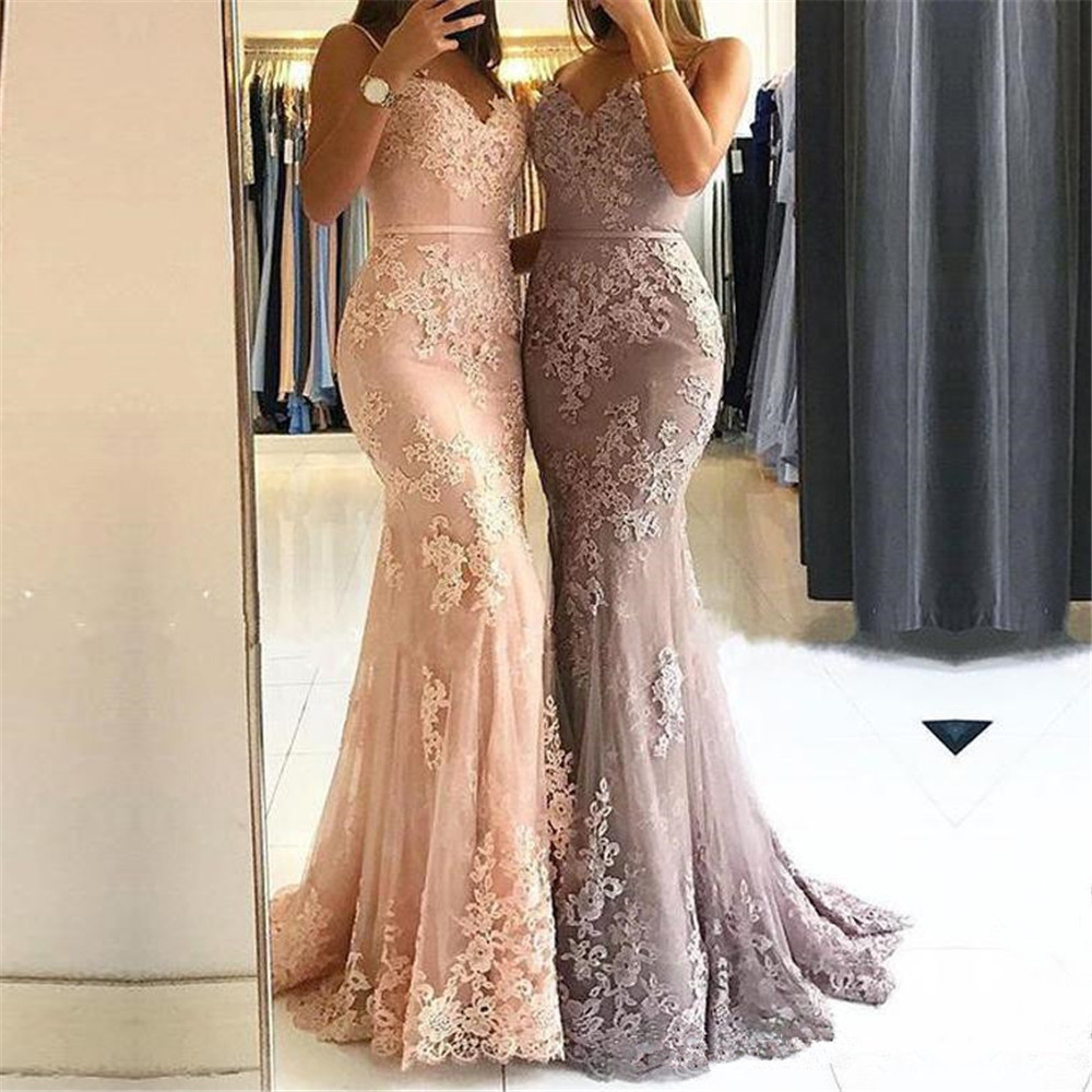 Sexy Spaghetti Strips Mermaid Prom Dresses Lace Appliques Trumpet Long Bridal Gowns With Ribbon Custom Made Vestidos De Festa