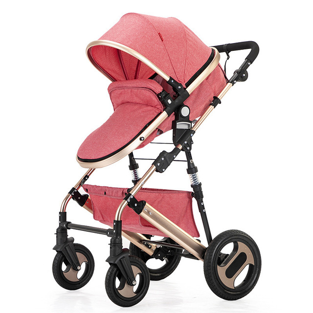 High view stroller light folding ultralight can sit and lie portable baby cart simple umbrella car
