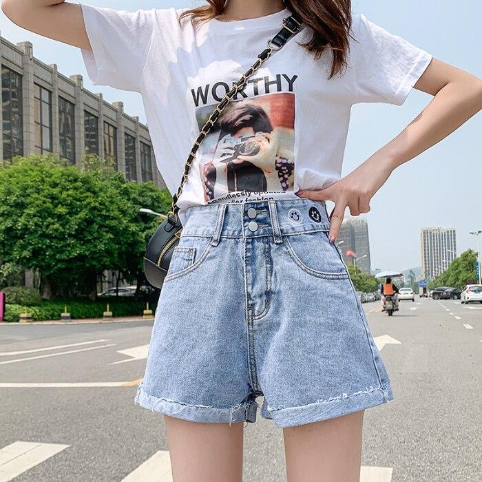 Ladies Jeans Denim Shorts Feminino Summer Highwaist Jeans Plus Size Korean Jeans Casual Tassel Jean Femme Blue 1