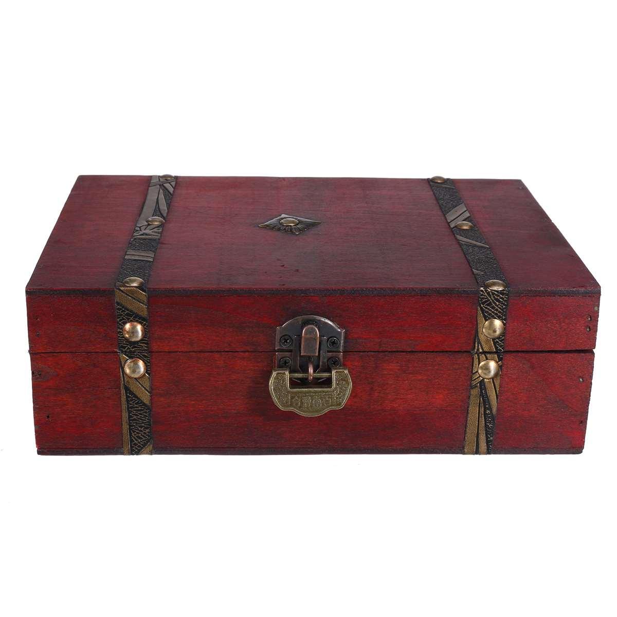 Винтажный деревянный ящик для хранения с сокровищами, с миниатюрным металлическим замком, органайзер для украшений и колец, складная дерев...