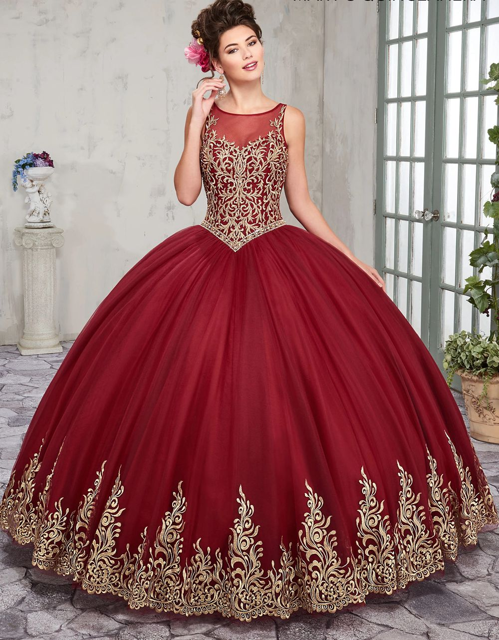 2019 Gold Embroidery Ball Gown Quinceanera <font><b>Dresses</b></font> Floor Length <font><b>Sweet</b></font> <font><b>16</b></font> <font><b>Dress</b></font> Custom Color Size image