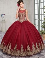 2019 Gold Embroidery Ball Gown Quinceanera Dresses Floor Length Sweet 16 Dress Custom Color Size