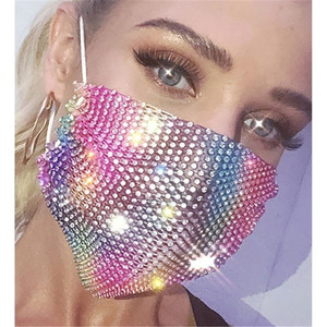 2020 Fashion Bling Colorful Crystal Cover Face Jewelry Elastic Face Mask Decor Shining Rhinestone Party Gift Night Club