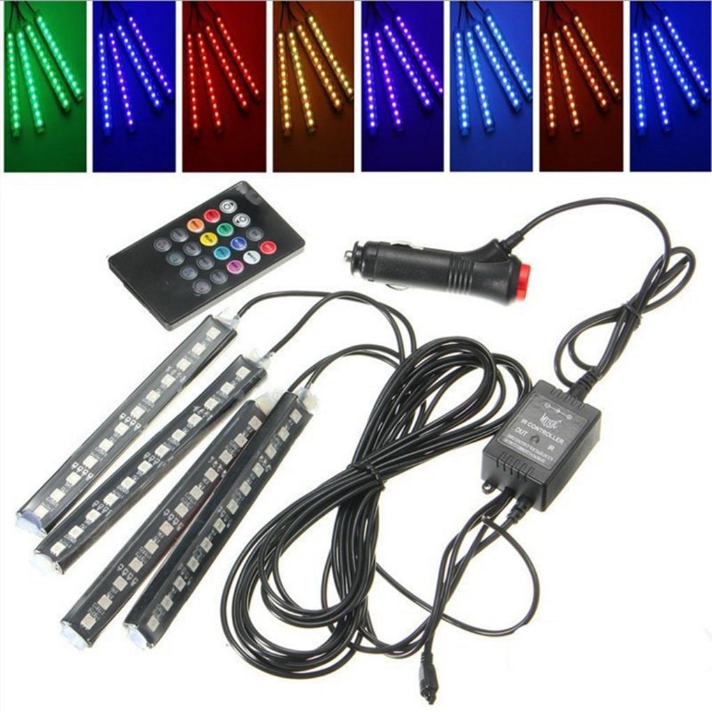Auto Interni 4pcs LED di Controllo Remoto Accendisigari Colorato RGB Car Pavimento Interno Luce di Striscia Per Atmosfera