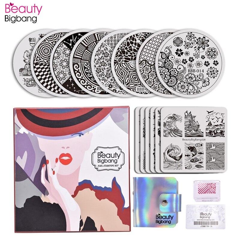 BeautyBigBang 17Pcs/Set Nail Stamping Plate Flower Geometric Animal 14 Round Square Polish Plates Stamper With Scraper