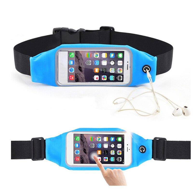 Running Waist Bag Touching Waterproof Phone Container Jogging Hiking Belt Belly Bag Women Gym Fitness Bag