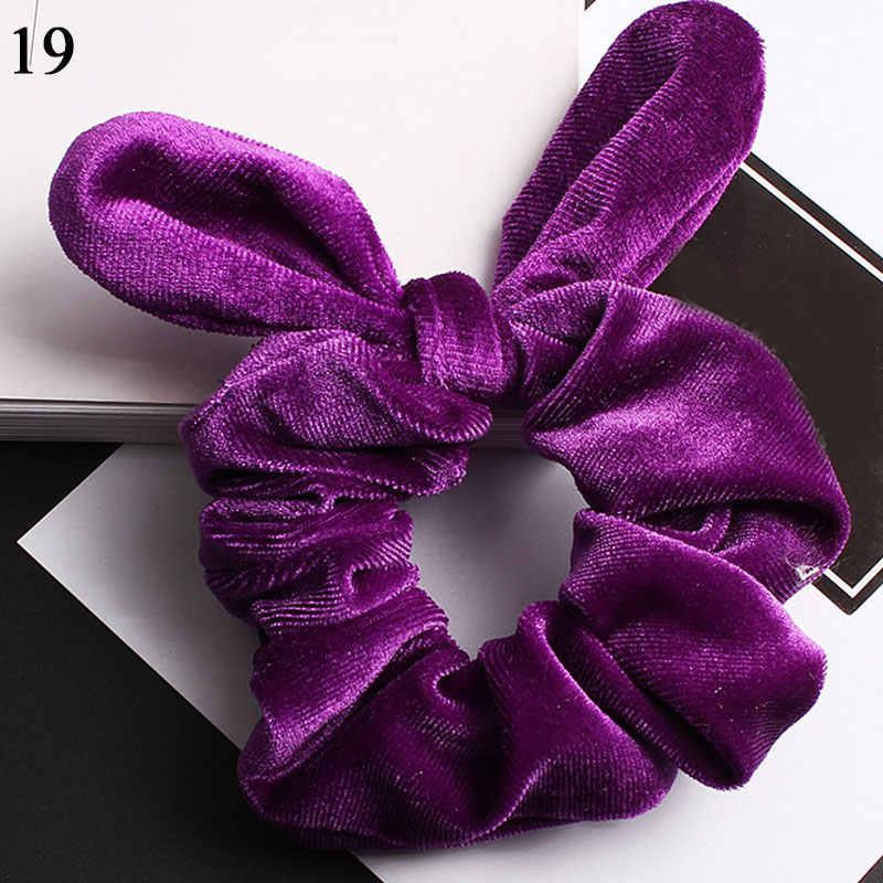 1PC Vintage Scrunchies กำมะหยี่ผมผู้หญิงกระต่ายน่ารักกระต่ายหูผมวงยืดหยุ่นผมอุปกรณ์เสริมสำหรับผมหญิงหางม้าผู้ถือ