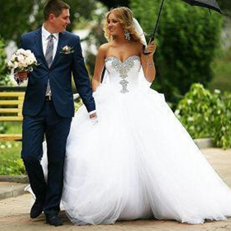 Ball Gown Wedding Dresses 2015 Vestido De Noiva White Tulle Sweetheart Princess Dress Wedding 2015